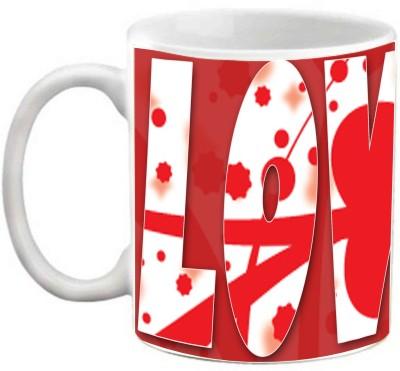 EFW Happy Valentines Day OR Happy Anniversary Love U Red Theme Printed Coffee Ceramic Mug(325 ml)