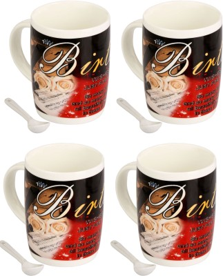 Somil Somil Birthday Massege Cup With Spoon Set Of 4 Ceramic Mug(400 ml, Pack of 4) at flipkart