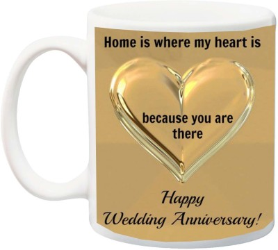 IZOR Gift for Husband/Wife On Anniversary;Home Is Where My Heart, Because You Are There With 3D Heart Printed Ceramic Mug(325 ml)