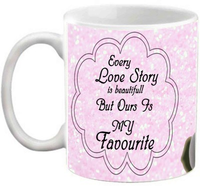 EFW PENGUIN EVERY LOVE STORY IS BEAUTIFUL PINK THEME PRINTED Ceramic Mug(325 ml)  available at flipkart for Rs.238
