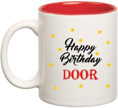 Huppme Happy Birthday Door Inner Red Ceramic Mug(350 ml), Red;white