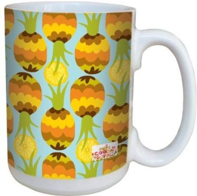 Tree-Free Greetings Greetings lm43506 Fun Pineapple Pattern by Carolyn Gavin Ceramic with Full-Sized Handle, 15-Ounce Ceramic Mug(60 ml) at flipkart