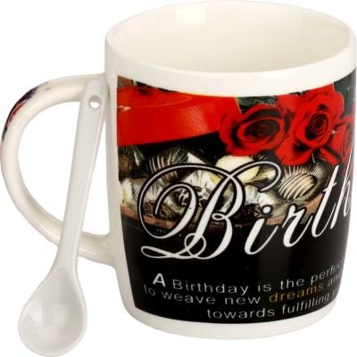 Somil Somil Red Rose Birth Day Cup With Spoon Set Of One Ceramic Mug(400 ml)