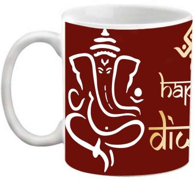 EFW Happy Diwali Ganeshji Blessings Maroon Printed Coffee Ceramic Mug(325 ml)