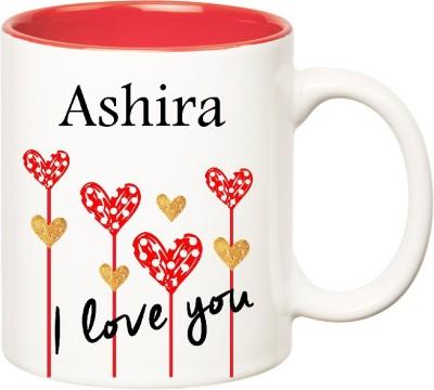 Huppme I Love You Ashira Inner Red (350 ml) Ceramic Mug(350 ml), Red;white