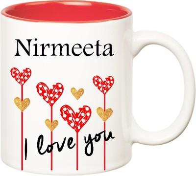 Huppme I Love You Nirmeeta Inner Red (350 ml) Ceramic Mug(350 ml), Red;white