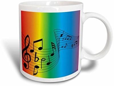 3dRose Swirl of Rainbow Music, 11-Ounce Ceramic Mug(60 ml) at flipkart