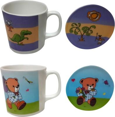 Zido Teddy and Dinasour Melamine Mug(300 ml, Pack of 2)