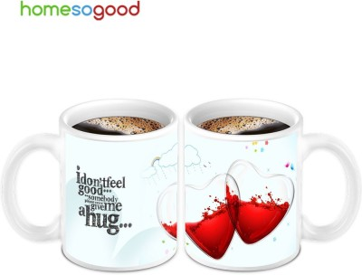 Homesogood Two Half Filled With Not Feeling Good (2s) Ceramic Mug(280 ml, Pack of 2)  available at flipkart for Rs.649