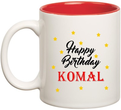 Huppmegift Happy Birthday Komal Inner Red Ceramic 350ml Ceramic
