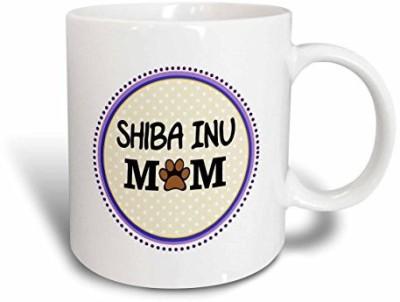 3dRose Shiba Inu Dog Mom Doggie Mama By Breed Paw Print Mum Love Doggy Lover Pet Owner Purple Circle Ceramic, 15 oz, White Ceramic Mug(60 ml) at flipkart