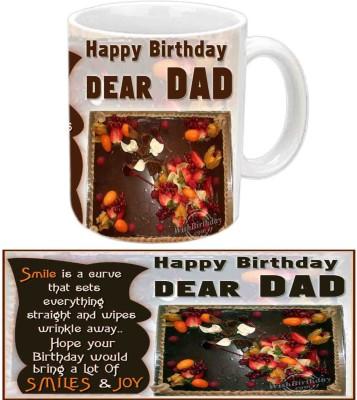 Jiya Creation1 Nice Quote Happy B'day Papa White Ceramic Mug(350 ml) at flipkart