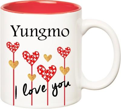 Huppme I Love You Yungmo Inner Red (350 ml) Ceramic Mug(350 ml), Red;white