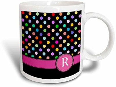 3dRose Letter R Monogrammed on Rainbow Polka Dots Pattern with Hot Pink Personal Initial Girly Multicolor Ceramic, 15 oz, White Ceramic Mug(60 ml)  available at flipkart for Rs.3711