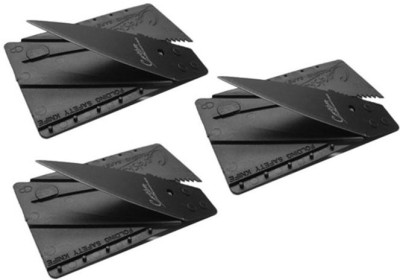 Everything Imported 3 Pcs Credit Card Folding Pocket Utility Knife(Black)  available at flipkart for Rs.151