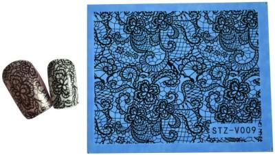 SENECIO™ Black Floral Lace Full Wraps Nail Art Manicure Decals Water Transfer Stickers 1 Sheet(Black) Flipkart