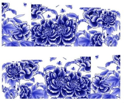 SENECIO™ Royal Blue White Flower Full Wraps Nail Art Manicure Decals Water Transfer Stickers 1 Sheet(Royal Blue)