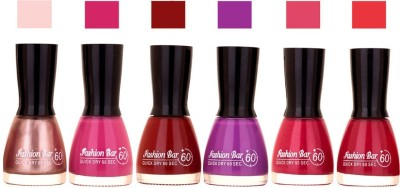 Fashion Bar Long Stay Pack of 6 Unique Nail Polish Combo 314 Simmer Pink,Purple,Cherry , purple , cherry mehroon(54 ml, Pack of 5)