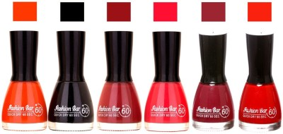 Fashion Bar Long Stay Pack of 6 Unique Nail Polish Combo 329 Orange,Black,redish Brown,Redish pink,shimmer mazanta,(54 ml, Pack of 6)
