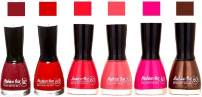 Fashion Bar Long Stay Pack of 6 Unique Nail Polish Combo 301 Move, red , pink , neon pink , Mazanta pink, brown(54 ml, Pack of 6)