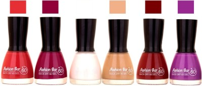 Fashion Bar Long Stay Pack of 6 Unique Nail Polish Combo 308 pink, purple,White ,Peach,Cherry,Purple(54 ml, Pack of 6)
