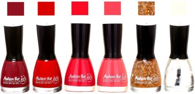 Fashion Bar Long Stay Pack of 6 Unique Nail Polish Combo 301 move ,red,Neon pink,pink,Glitter Golden, Transperent(54 ml, Pack of 6)