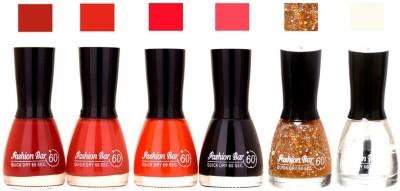 Fashion Bar Long Stay Pack of 6 Unique Nail Polish Combo 301 Redish Brown,badami pink,Orange, Black,Glitter Gold,Transperent(54 ml, Pack of 6)