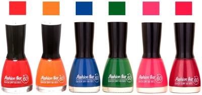 Fashion Bar Long Stay Pack of 6 Unique Nail Polish Combo 302 Redish pink, orange ,Blue,Green,Neon Pink,Shimmer Mazanta(54 ml, Pack of 6)