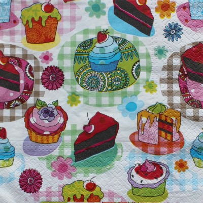 Tootpado Tissue Paper Decoupage 33 x 33 cm (Pack of 20) - Birthday Cup Cakes Design (1l1327) - Decoration Party Napkin for Art & Craft Supplies Multicolor Set of 20 Napkins