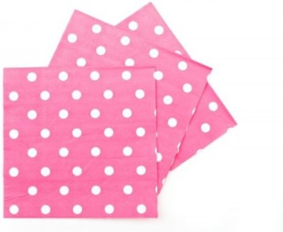 Party Anthem Pink Polka paper Napkin - Two ply Pink Napkins(40 Sheets)