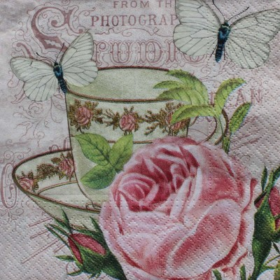 Tootpado Tissue Paper Decoupage 33 x 33 cm (Pack of 20) - Vintage Tea Cup (1l1408) - Decoration Party Napkin for Art & Craft Supplies Multicolor Set of 20 Napkins
