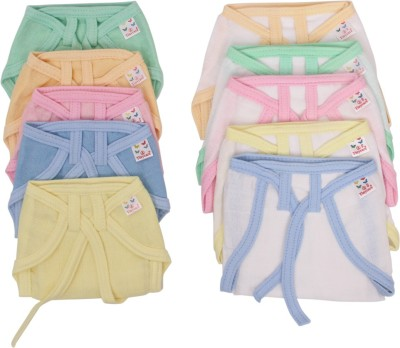 Vadmans Vadmans Tinycare Muslin Solid  Wht Piping Soft Nappy Vadmans Nappy