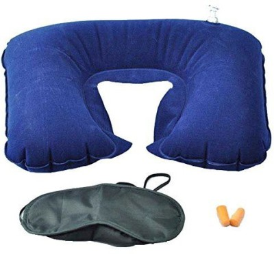 Stargale 3 in 1 Travel Inflatable Air Cushion Eye Mask Ear Plug Neck Pillow Multi Stargale Neck Pillows   Eye Shades
