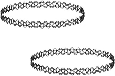 FreshVibes Simple Black Choker Necklace - Antique Classic Choker Lace Bollywood Style Neck Band - Free Size for Women Plastic Necklace Set  available at flipkart for Rs.147