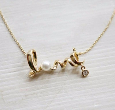 4313016f9f6 79% OFF on Amour silver Rhinestone Pearl Love Geometry Clavicle Chain  Necklaces & Pendants For