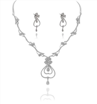 Zephyrr Zephyrr Fashion Rhodium Plated Necklace Earrings Set for Women Handcrafted CZ Alloy Necklace at flipkart