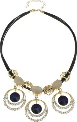 Golden Peacock Crystal Alloy Cat's Eye 18K Yellow Gold Plated Zinc Necklace at flipkart