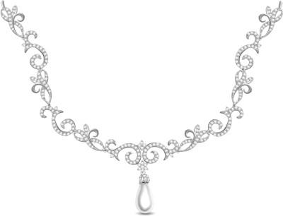 Vijisan 5.30 Ct. Romantic Fancy Cubic Zirconia 18K White Gold Plated Silver Necklace at flipkart