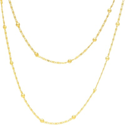 Memoir Gold plated Ball and interlinked Strand light weight Chain necklace for Women 24K Yellow Gold Plated Brass Chain