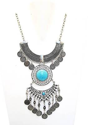 Muccasacra Turkish Necklace Boho Gypsy Style Alloy, Stone Necklace