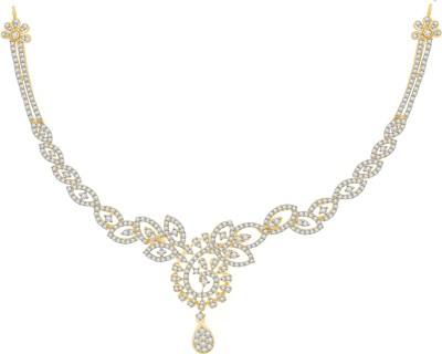 Vijisan 5.62 Ct. Impressive Designed Cubic Zirconia 18K Yellow Gold Plated Silver Necklace at flipkart