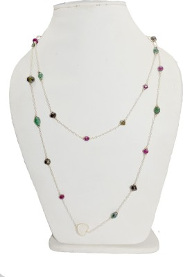 Manirathnum Emerald Ruby Sapphire Died Beads Long FN-334 Ruby Silver Plated Silver Necklace Set  available at flipkart for Rs.1368