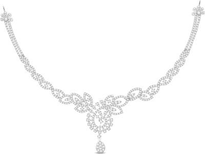 Vijisan 5.62 Ct. Impressive Designed Cubic Zirconia 18K White Gold Plated Silver Necklace at flipkart
