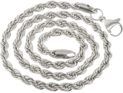 Men Style 5mm 14K White Silver Rope Design Necklaces (24 Inch Long) 800 Silver Plated Stainless Steel Chain at flipkart