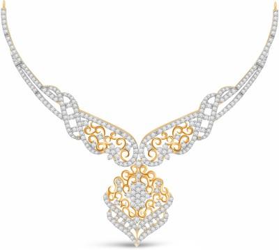 Vijisan 10.22 Ct. Pretty Gorgeous Cubic Zirconia 18K Yellow Gold Plated Silver Necklace at flipkart