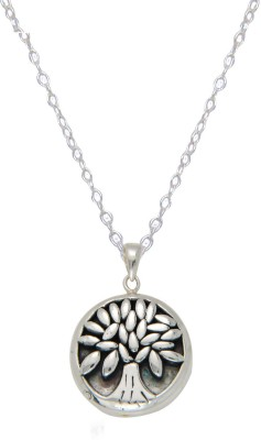 LeCalla Engraved Tree Of Life Sterling Silver Round Disc Pendant Necklace Black Silver Plated Silver Necklace