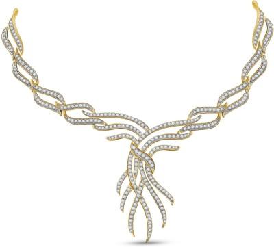 Vijisan 4.24 Ct. Luminous Pretty Cubic Zirconia 18K Yellow Gold Plated Silver Necklace at flipkart