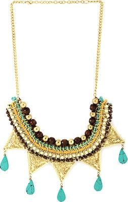 Voylla Artificial Classic Textured Yellow Gold Plated Alloy Necklace at flipkart