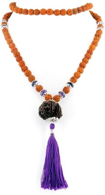 Foocat Seven Mukhi Nepal Rudraksha and Amethyst Wood Necklace at flipkart