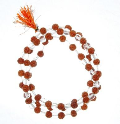 Jaipur Gems And Handicrafts 108+1 Beads Rudraksha Crystal Mala Prayer Rosary Wood Necklace at flipkart